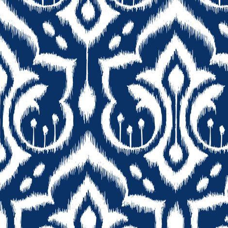 Ikat Damask - Midnight Navy fabric by pattysloniger on Spoonflower - custom fabric Living room?