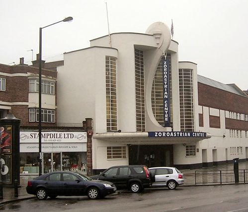 This was originally built as The Rayners Lane Odeon, a beautiful art deco Cinema.  Then it was a nightclub, then it was a bar/pub.  It is now 'The Zoroastrian Centre'.