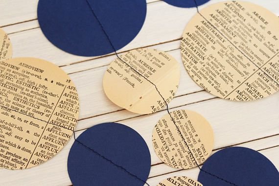 Vintage Dictionary & Navy Blue Garland 3m or 6m