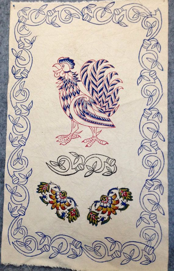 Block printed fabric with rooster design kitchen by aruscraft
