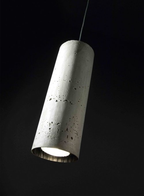 concrete. Simple concrete tube filled concrete pendant light. Raw concrete finish.