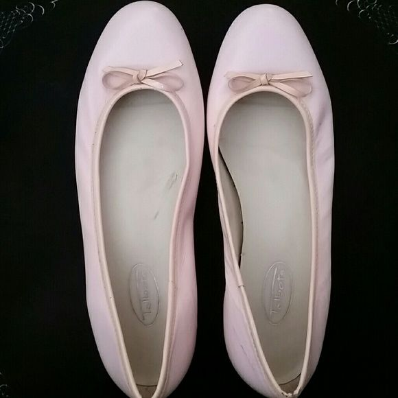 Classic Pink Leather  Ballet Shoes These pink ballet shoes are a staple for your closet. The soles have a hard heel for added comfort. Talbots Shoes Flats & Loafers