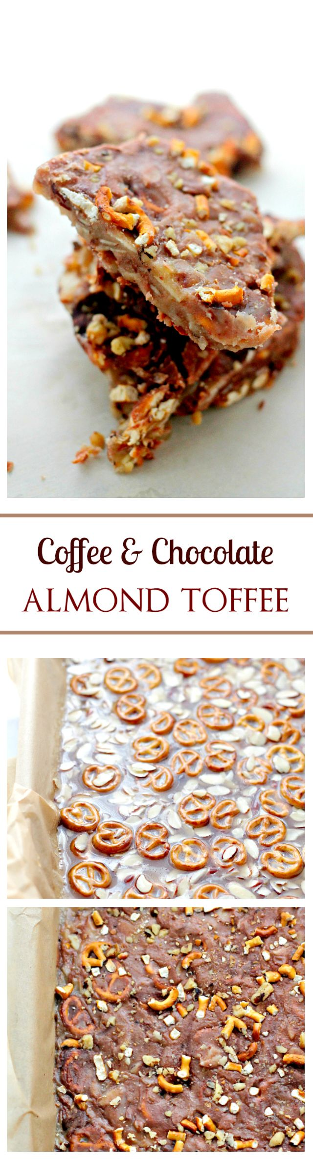 Coffee and Chocolate Almond Toffee | www.diethood.com | Quick and easy homemade Toffee with almonds, pretzels and coffee. No need for a Candy Thermometer!