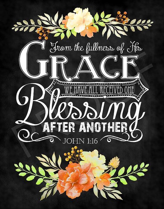 Scripture Art - John 1:16 ~ Chalkboard Style, Fall ...