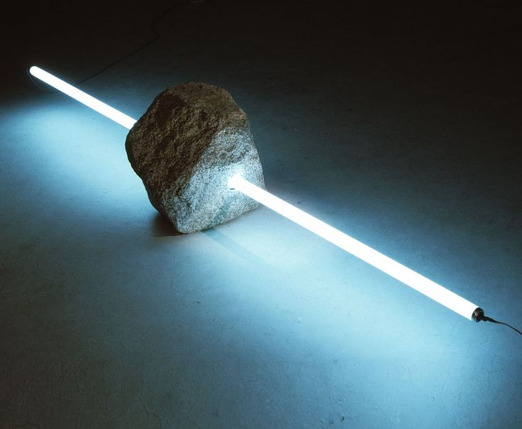 Deeply engrained within the broader movement of conceptualism, the ephemeral phenomenon of Mono-ha was concerned with the relationship between the industrial and the natural, as exemplified by this rock pierced by a neon tube, by Tatsuo Kawaguchi