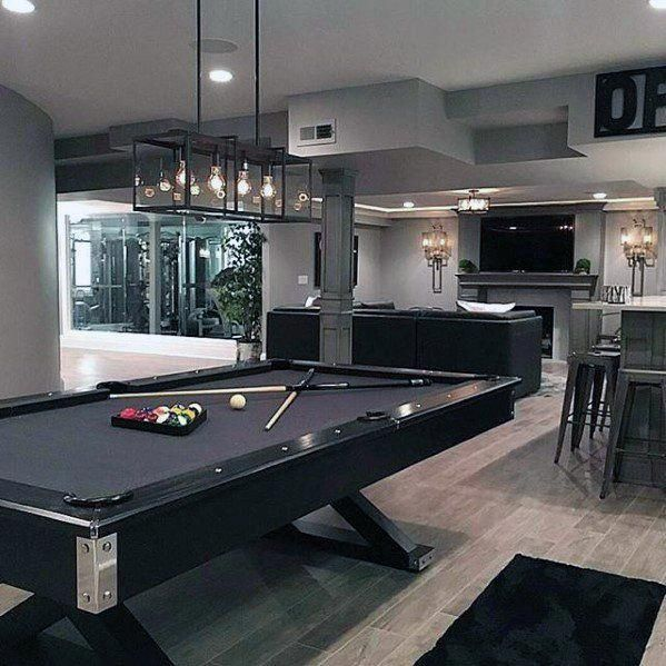 60 Basement Man Cave Design Ideas For Men Manly Home Interiors Man Cave Design Man Cave Home Bar Modern Basement