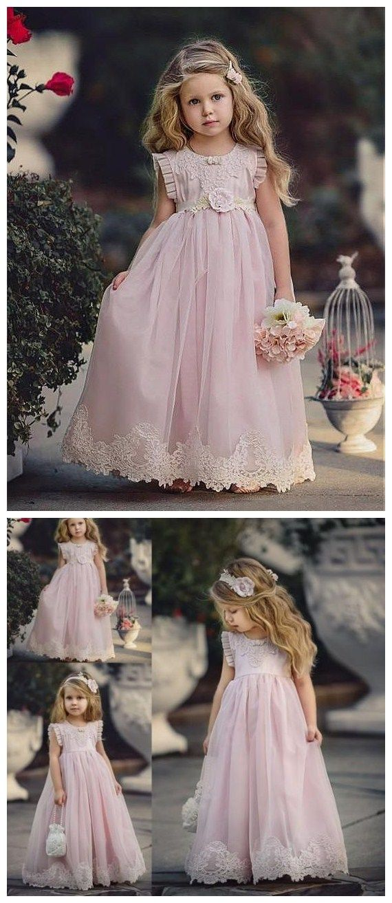 7188693244aa Bohoprom a-line flower girl dresses, pink little girl dresses, tulle little  girl dresses, long flower girl dresses, elegant little girl dresses, ...
