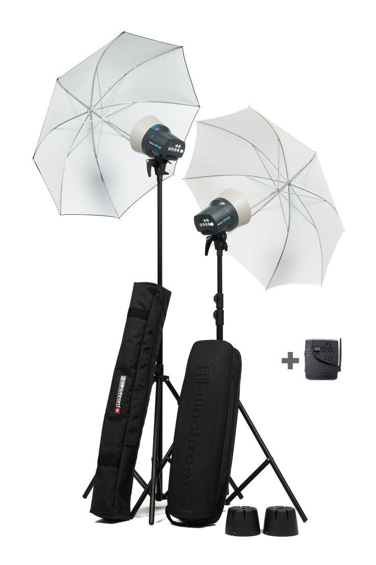 Set Elinchrom RX One con Sombrillas,  Sombrilla Blanca Traslucida y Blanca con exterior negro