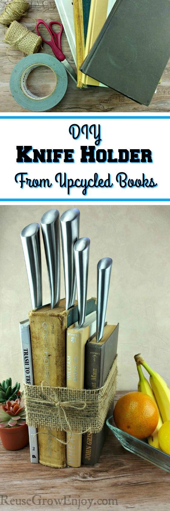best 25 knife holder ideas on pinterest magnetic knife holder diy knife holder made from upcycled books