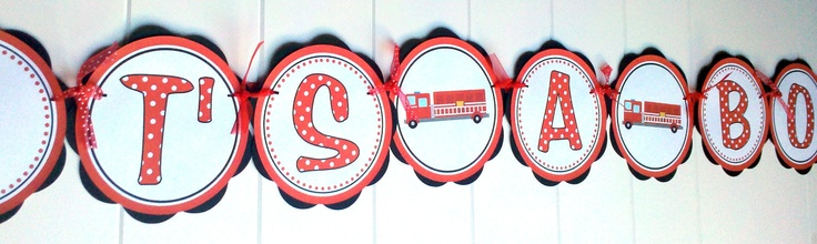 Baby Shower Decorations - Firetruck Theme, Fireman, Fire Engine Theme ITS A BOY Baby Shower Banner - Baby Boy Baby Shower Decorations. $23.50, via Etsy.