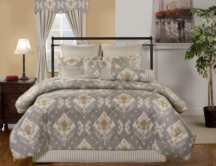 Taos Gray Ivory Gold Southwestern Bedding Comforter Set 5 Sizes Southwest Decor in Home & Garden, Bedding, Comforters & Sets | eBay
