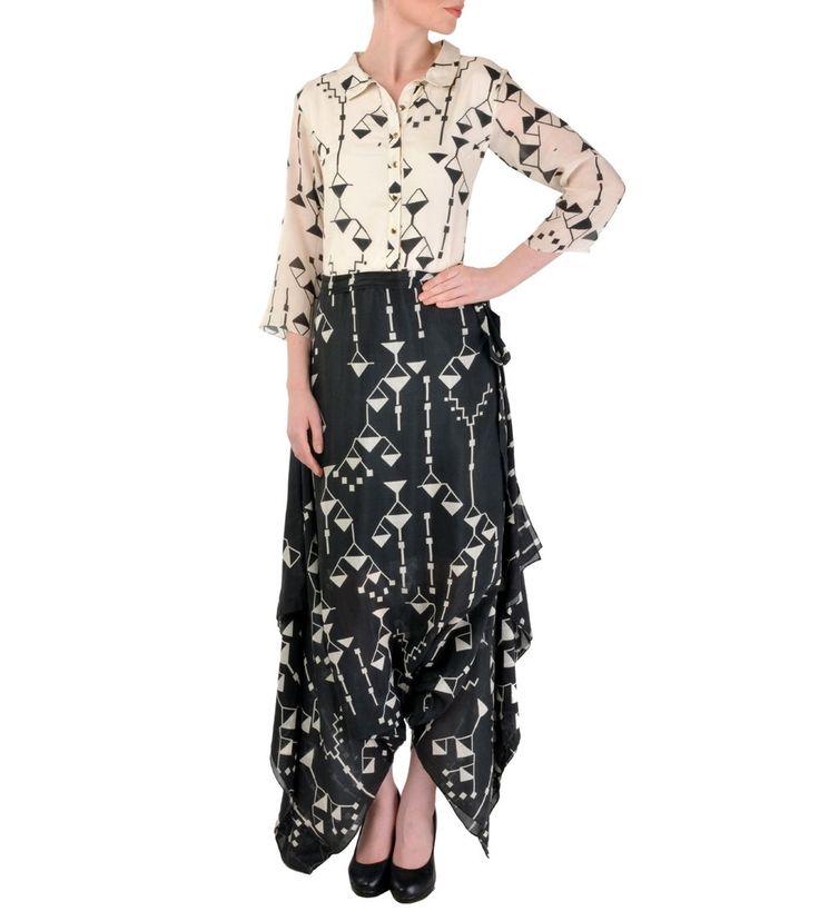 Off White & Black Cotton Silk Digital Printed Jumpsuit