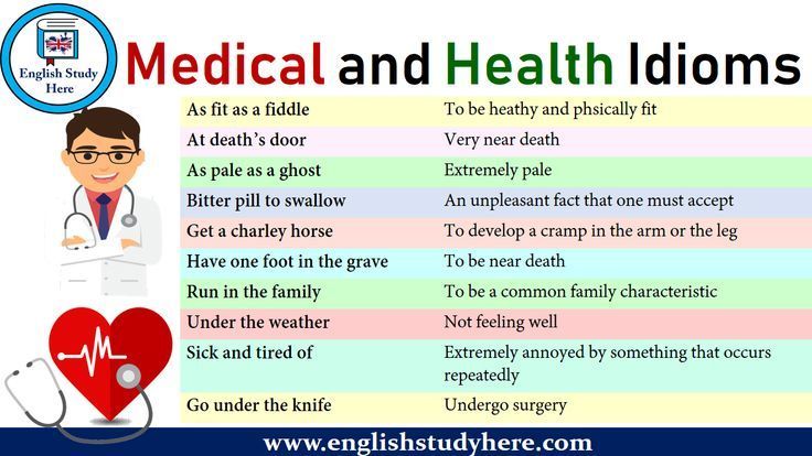 English Medical And Health Idioms Expressions As Fit As A Fiddle