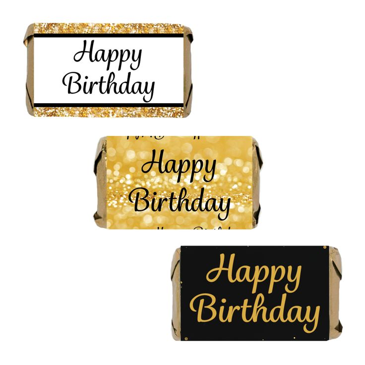 Happy Birthday Party Sticker Candy Labels for Hershey's Miniatures - Gold and Black (Set of 54)