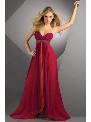 A-Line Sweetheart Split Front Chiffon Long Red Bridesmaid Dress