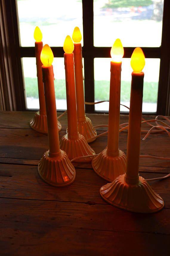 Vintage electric window candle light: set of six single light