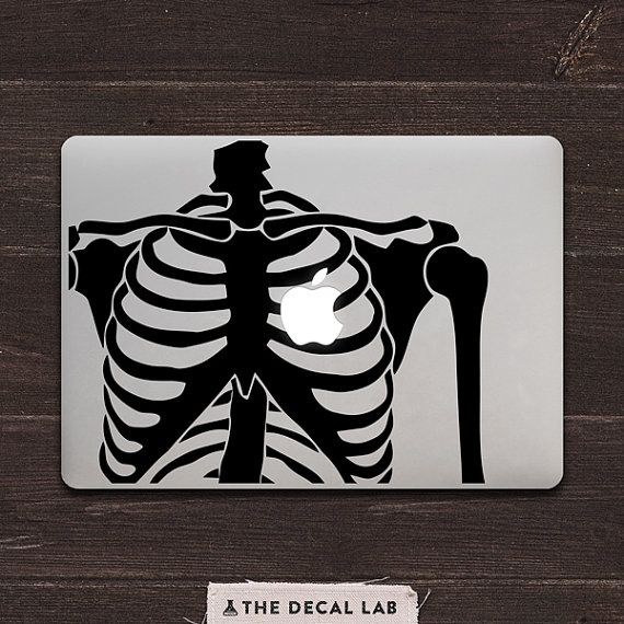 Skeleton Heart Vinyl MacBook Decal BAS-0182