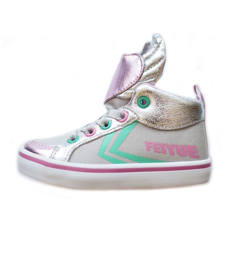 Feiyue Delta Mid Animal Kids Wings Silver /Grey/Teal/Pink, Kids Footwear, www.oishi-m.com