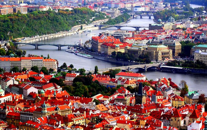 Download wallpapers Prague, 4k, Vltava, panorama, Czech Republic, Europe