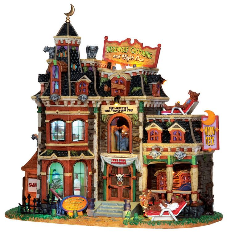 25321 werewolf grooming night spa with adaptor lemax spooky town halloween village houses buildings