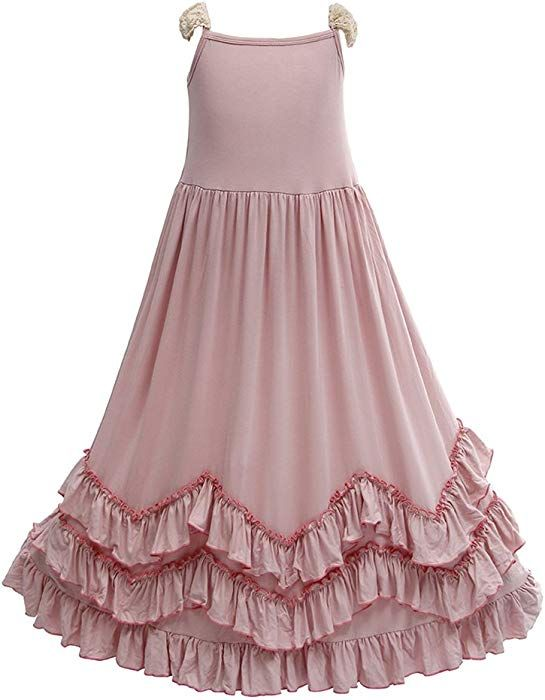 1cc279ed52c Amazon.com  Everweekend Girls Ruffles Maxi Dress Pink Color Halter Lace Fly  Sleeve Cotton Party Dress Skirts (Peach-Backless