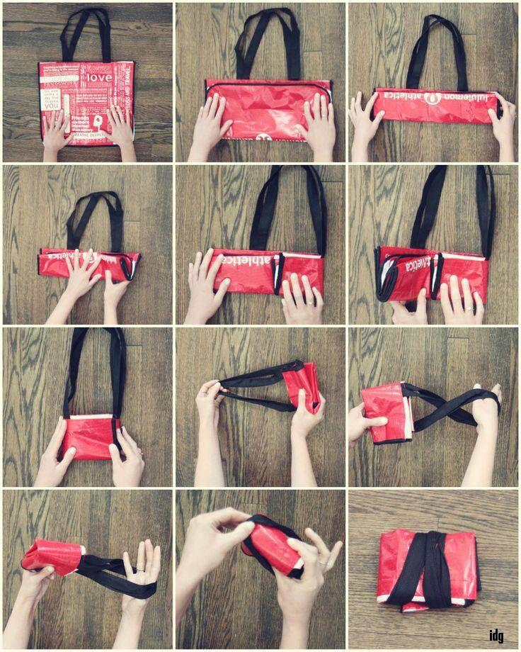 Rangement sac de course astuce pinterest bags how - Astuce rangement sac a main ...