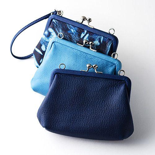 【池之端銀革店】Cramp×SUKUMO Leather 藍染めがま口財布 大