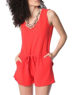Coral #romper with cross back and drawstring waistband