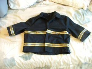 DIY: Fireman jacket for play made from a woman's shirt.