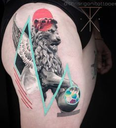 Lion with Wings Statue Tattoo