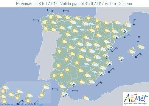 El tiempo del martes: Lluvias en Valencia y Alicante con buen tiempo en el resto. Suben las temperaturas en el norte y bajan en el mediterraneo