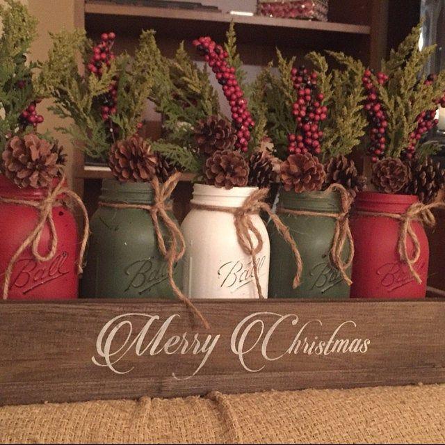 Mason Jar Christmas Centerpiece Christmas Centerpiece Etsy Christmas Jars Christmas Mason Jars Christmas Centerpieces