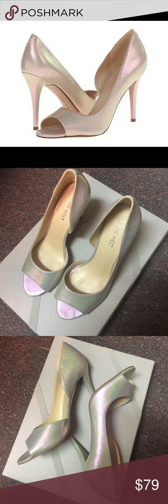 Nine West Dorsey hologram heels 6.5 Worn once. Silver hologram color. Open toe. Like new. Nine West Shoes Heels