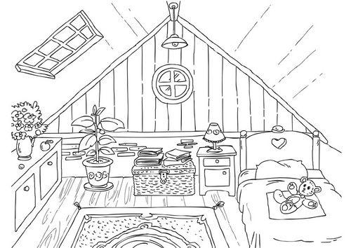 kleurplaat zolder coloriages et dessins pinterest recherche int rieurs et coloriages. Black Bedroom Furniture Sets. Home Design Ideas