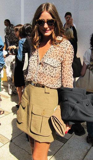 Olivia Palermo at New York Fashion Week 2011 | sheer leopard print top and clutch by Reiss, Mulberry pocket skirt | POPSUGAR Fashion