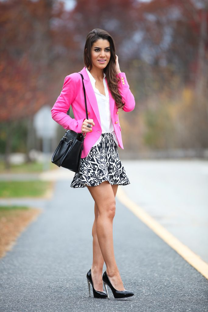 fuchia blazer, printed skirt and white shirt