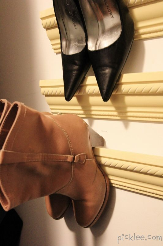 This DIY crown molding shoe rack from 'Picklee' for shoes with heels.
