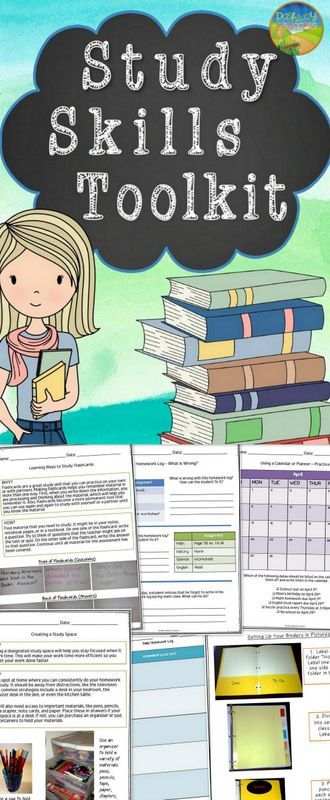 Teach study skills including organization, planning, prioritizing, and study strategies for tests.