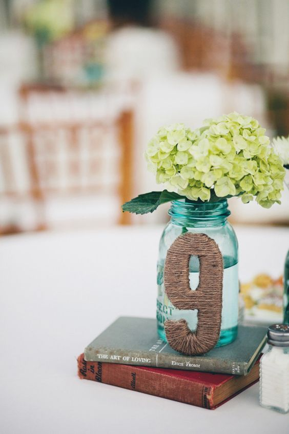 Wedding Table Number & Centerpiece with Mason Jar / http://www.deerpearlflowers.com/diy-wedding-table-number-tutorials-samples/6/
