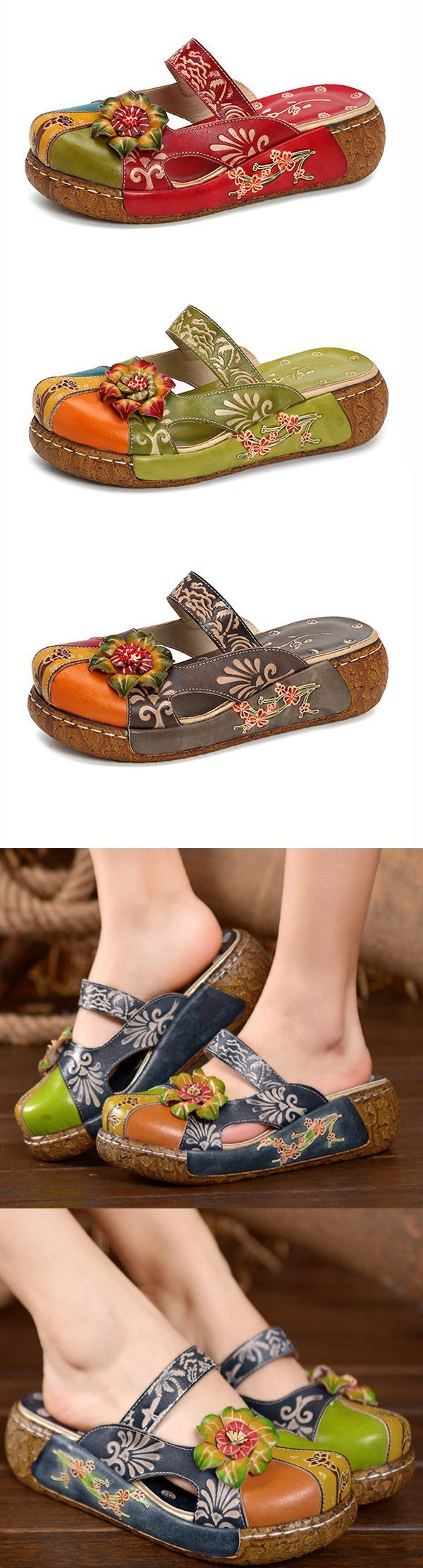 SOCOFY Vintage Colorful Leather Hollow Out Backless Flower Shoes#summer #shopping #shoes