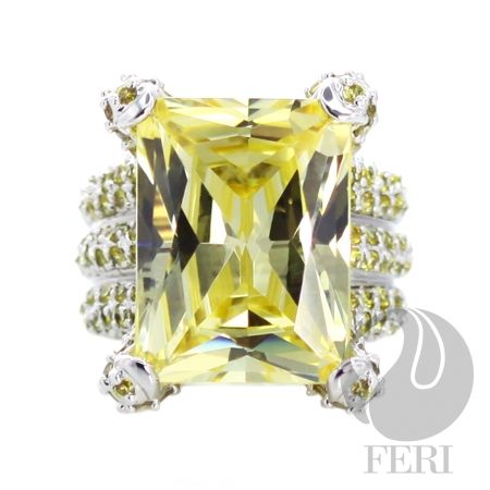 - 925 fine sterling silver - 0.5 micron natural rhodium plating - Set with AAA white cubic zirconia and yellow cubic zirconia    Global Wealth Trade Corporation - FERI Designer Lines