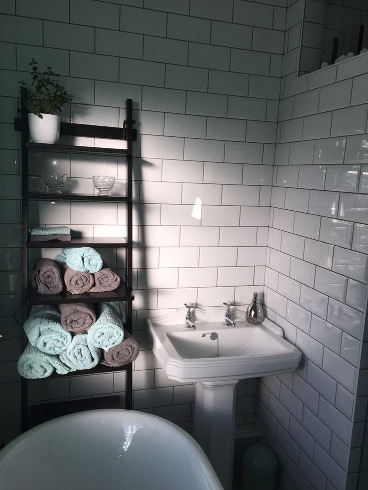 Subway metro tiles, Victorian traditional sink , bristan taps, ladder towel…