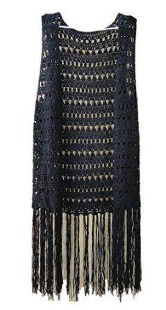 fringed long crochet vest tunic sleeveless top