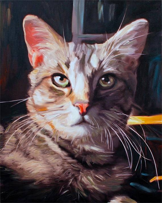 Cat Lover Gift Custom Cat Portrait Custom Pet Painting