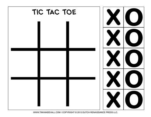 Tic-Tac-Toe Printable                                                                                                                                                                                 More