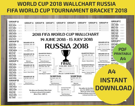 Wallchart Fifa 2018 World Cup Russia Pdf Printable Bracket Mondial Template Calendar Planner Match Schedule A4 Letter Size