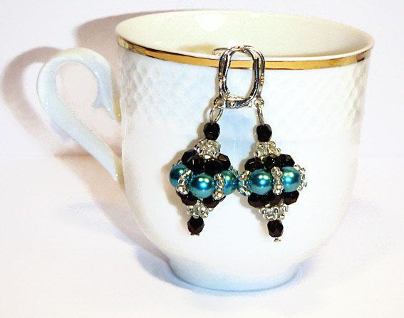 Turquoise Dangle Earrings, Turquoise Pearly Bead Elegant Earrings, Turquoise Beaded Earrings Blue Earrings - pinned by pin4etsy.com