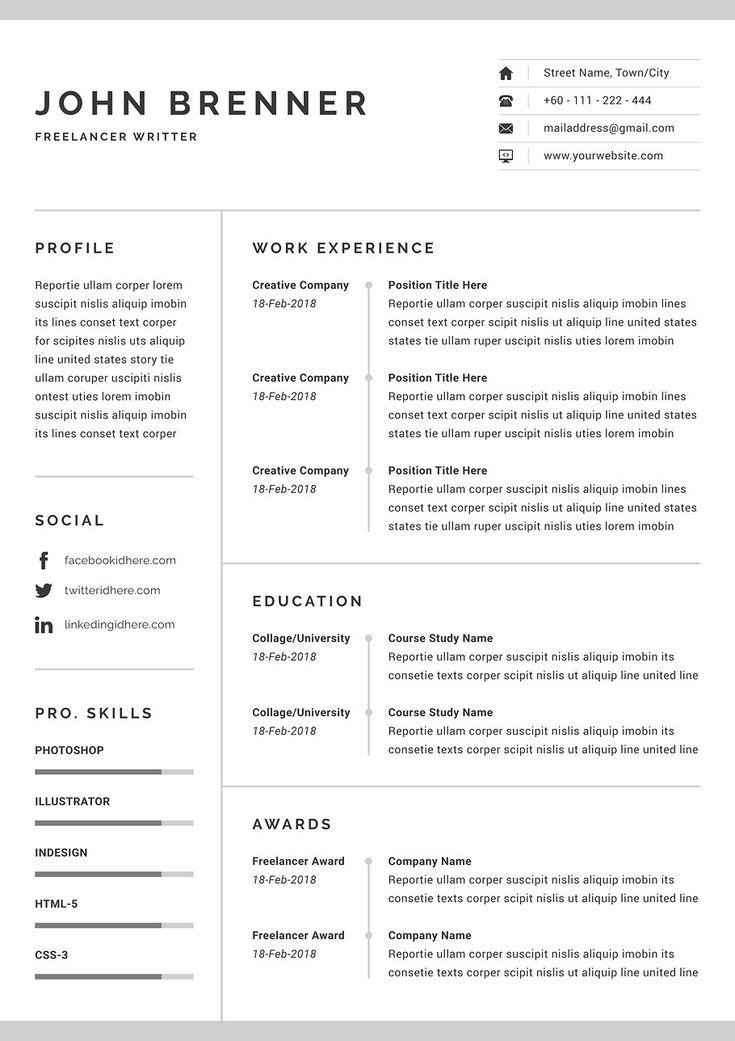 Minimalist resume minimalist resume one page resume