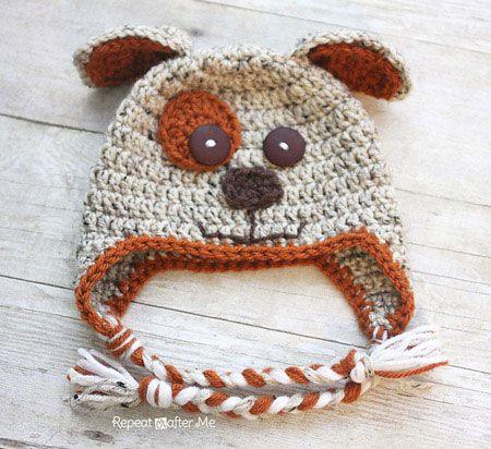 crochet puppy hat, free pattern