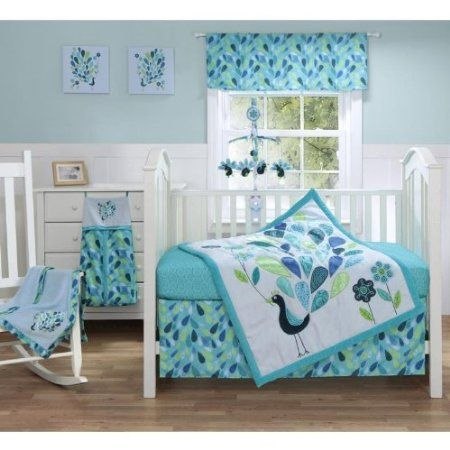 Amazon.com: Peacock Blue 3 Piece Baby Crib Bedding Set by Bananafish: Baby